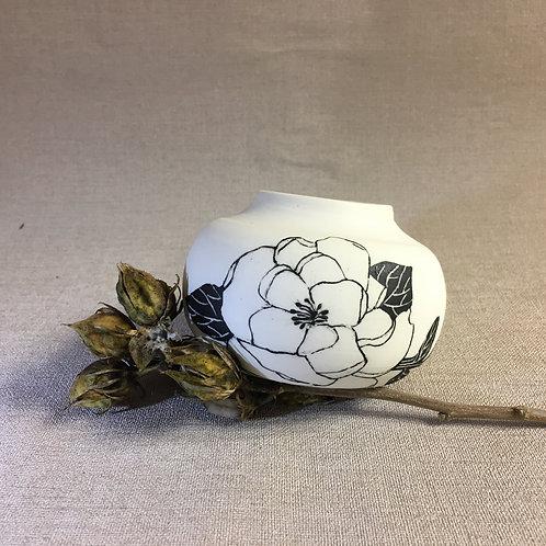 Vase boule motif floral