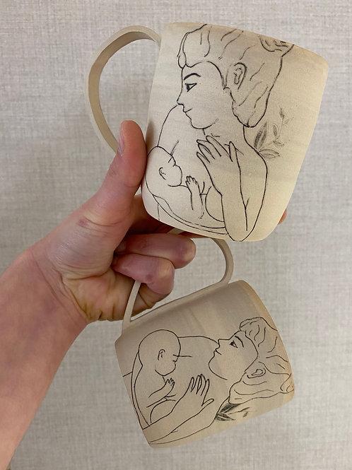 Duo de mug motif en grès motif allaitement