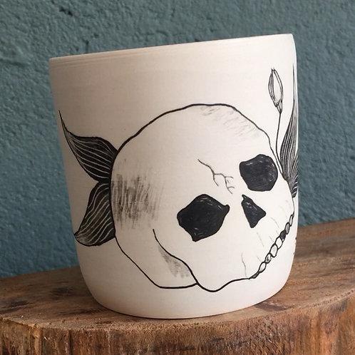 Gobelet / Pot crâne et plantes