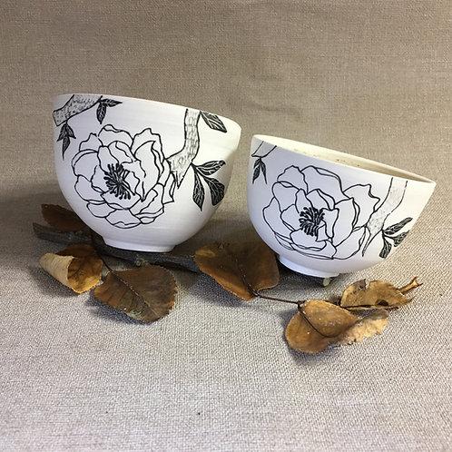Duo de minis bols motif floral