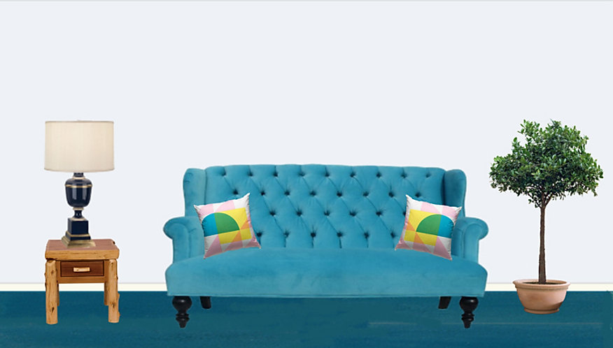 BLUE COUCH - Off white wall Blue Rug Art