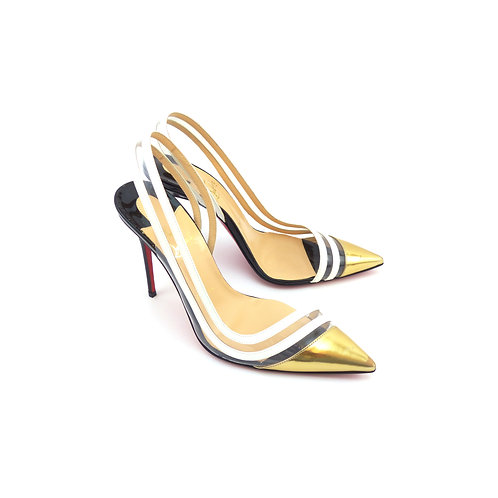 Christian Louboutin 'Paralili 100' Gold Specchio Leather Slingbacks