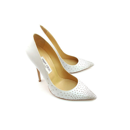 Jimmy Choo 'Anouk' White Nappa Leather With Micro Studs Degrade