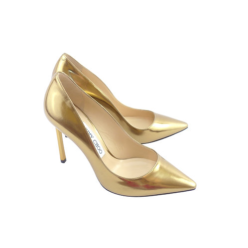 Jimmy Choo 'Romy' 100 Light Honey Mirror Leather