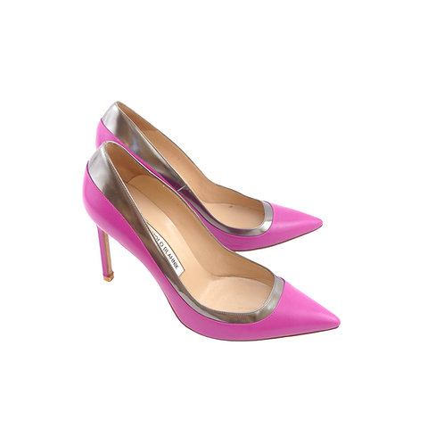 Manolo Blahnik Pretati 105 Fuchsia Calfskin Leather / Silver Metallic Leather