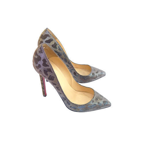 Christian Louboutin 'Pigalle' 120 Gold/Silver Leopard Lame