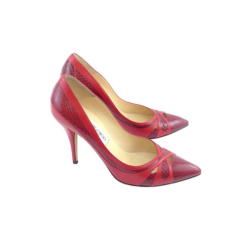 Jimmy Choo 'Dee' Red Watersnake & Kid Leather