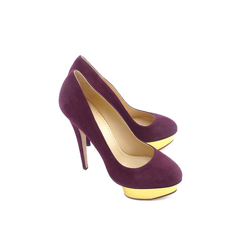 Charlotte Olympia 'Dolly Tulle' Aubergine Suede