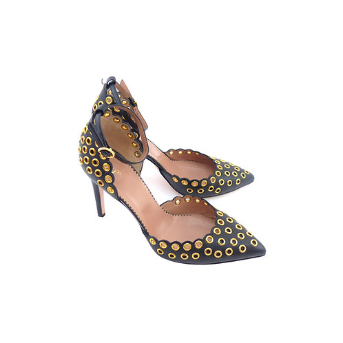 RED Valentino Black Leather with Gold Eyelet Embellishments
