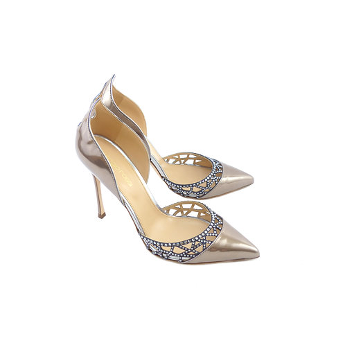Sergio Rossi 'Tesor' Oro Rosa Mirrored Leather with Silver/Ash Grey Strass