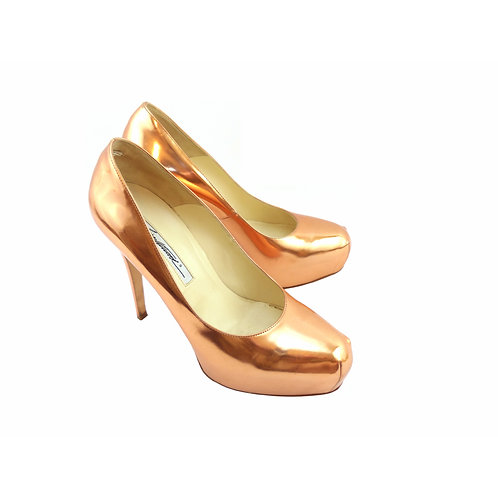 Brian Atwood 'Maniac' Rose Gold Metallic Leather