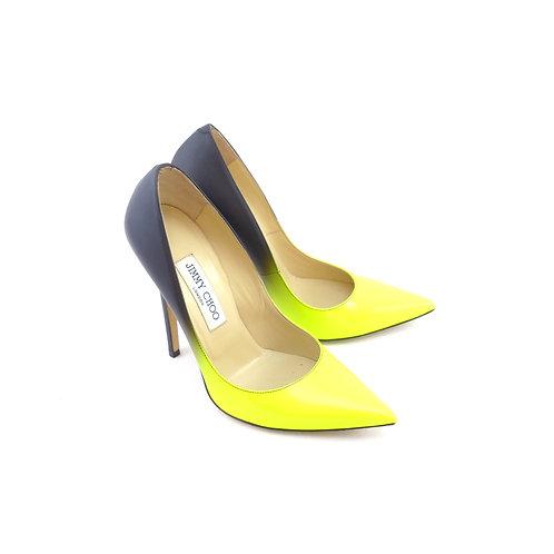 Jimmy Choo 'Anouk' Neon Yellow Patent Leather / Matt Black Leather Degrade