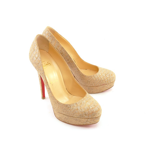 Christian Louboutin 'Bianca' 140 Beige Liege Embossed