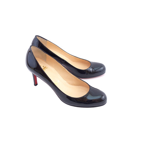Christian Louboutin 'Simple Pump' 70 Black Patent Leather