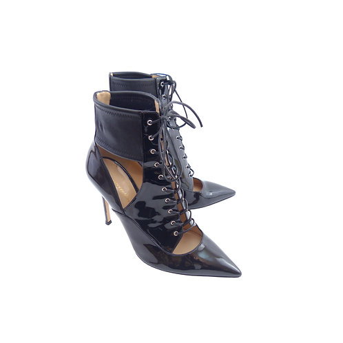 Gianvito Rossi Lace-up Black Patent Leather Ankle Boots