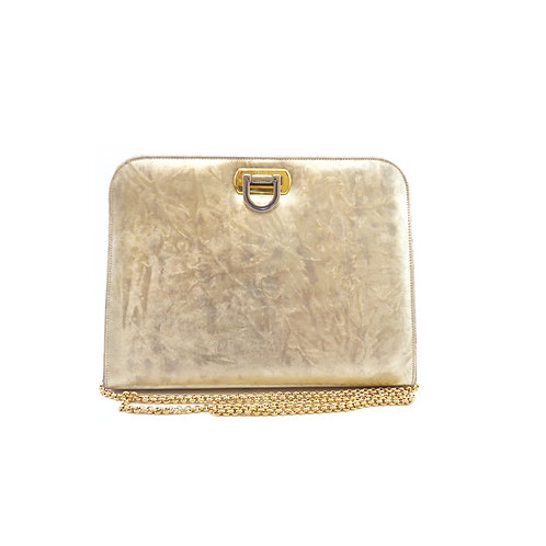 Gina Gold Metallic Brushed Clutch Bag