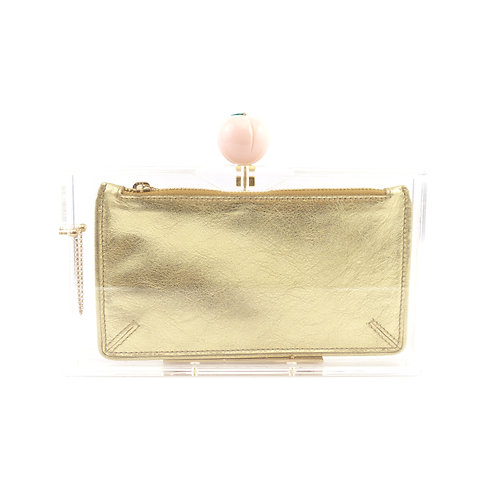 Charlotte Olympia 'Pandora' Peach Perspex Clutch Bag with Gold Satin-Twill Pouch