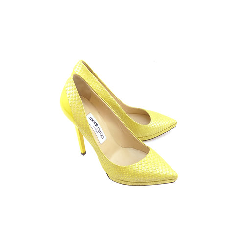 Jimmy Choo 'Aude' Yellow Elaphe / Patent Leather