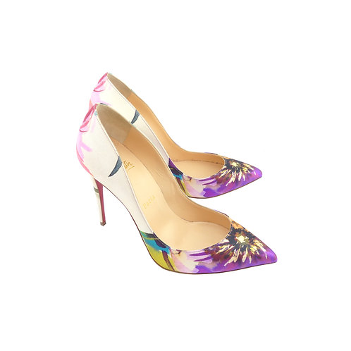 Christian Louboutin 'Pigalle Follies' 120 Multi-Coloured Maxi Fiori Satin