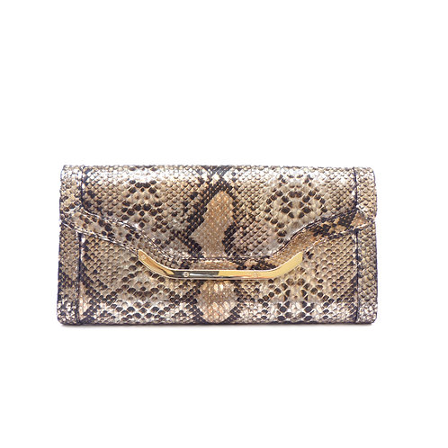 Lucy Choi 'Jagger' Bronze Snake Print Leather Clutch Bag