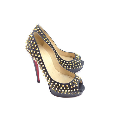 Christian Louboutin Lady Peep 150 Black Nappa Leather Gold Spikes
