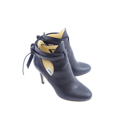 Jimmy Choo 'Marina 90' Black Leather Ankle Boots