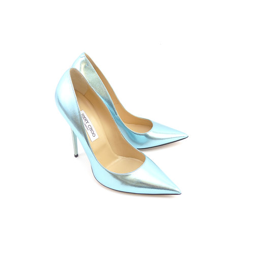 Jimmy Choo 'Anouk' Cool Mint Etched Mirror Leather