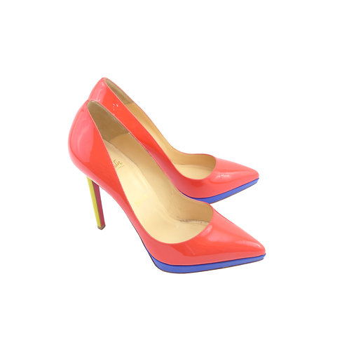 Christian Louboutin Pigalle Plato 120 Poppy / Mimosa / Pervenche Patent Leather