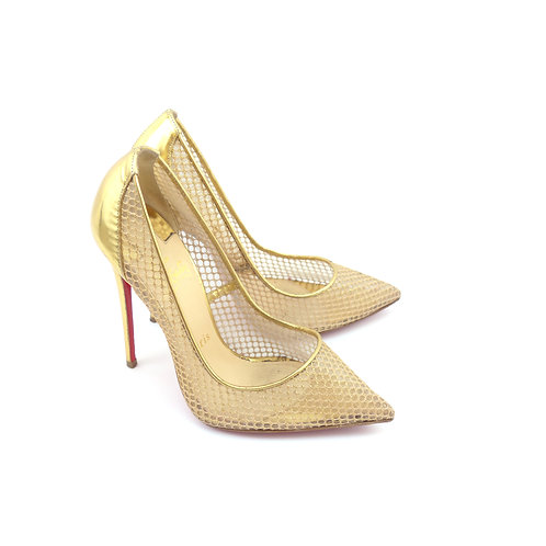 Christian Louboutin 'Follies Resille 120' Natural Fishnet Gold Metallic Leather