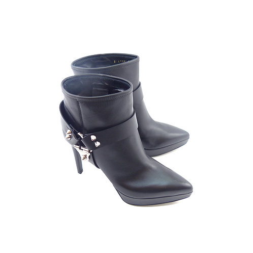 Sergio Rossi Texas Black Leather Harness Ankle Boot
