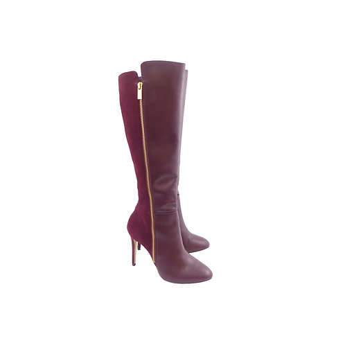 Michael Kors 'Clara' Merlot Leather & Suede Knee High Boots