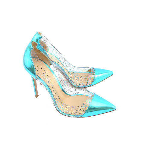 Gianvito Rossi 'Plexi' Turquoise Metallic Leather & Transparent Glitter Perspex