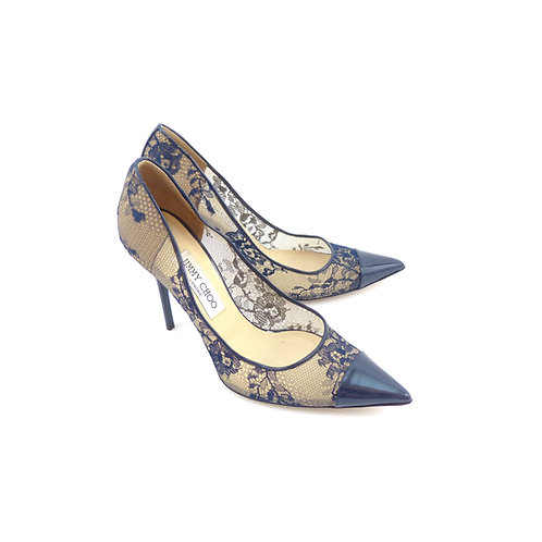 Jimmy Choo 'Amika' Navy Lace / Navy Patent Leather