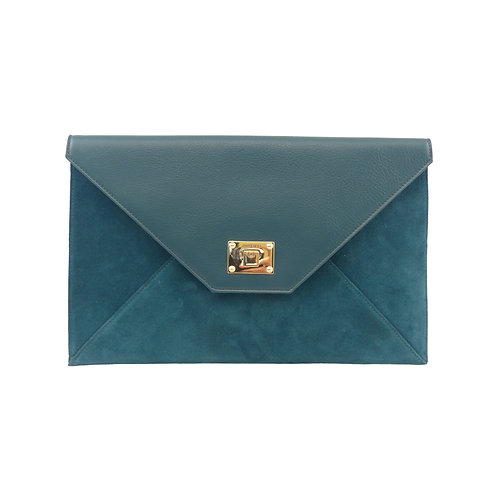 Jimmy Choo 'Rosetta' Teal Smooth Leather & Suede Envelope Clutch Bag