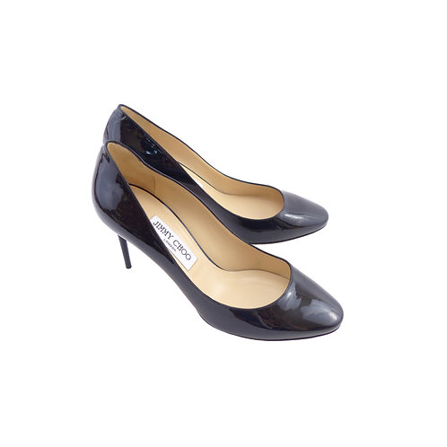 Jimmy Choo 'Esme' 85 Black Patent Leather