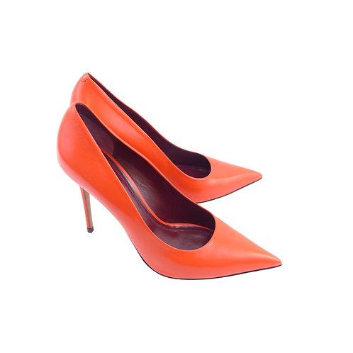 Céline 'Essentials Skinny Heel Pump' Poppy Red Kidskin Leather