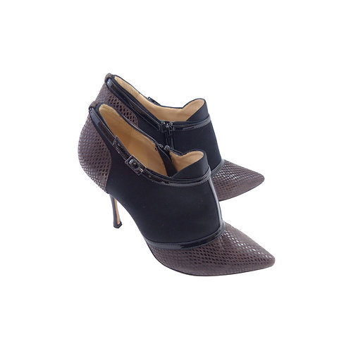 Lucy Choi 'Anastasia' Brown Suede / Black Satin & Patent Leather Ankle Boots
