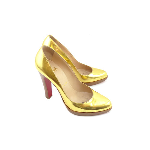 Christian Louboutin 'Super Decollete 868' Gold Specchio Leather