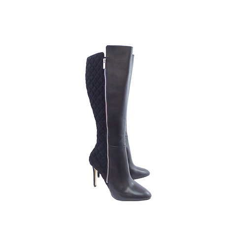 Michael Kors 'Clara' Black Leather & Quilted Suede Knee High Boots