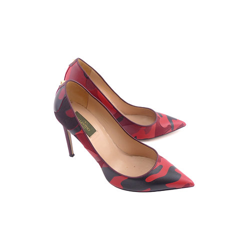 Valentino Red & Black Camouflage-Print Leather