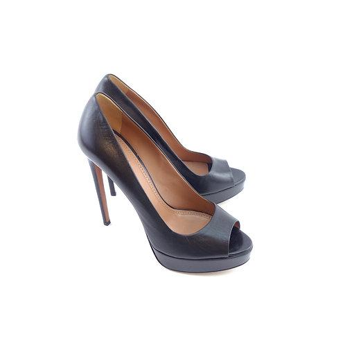 Azzedine Alaïa Peep Toe Platform Black Leather