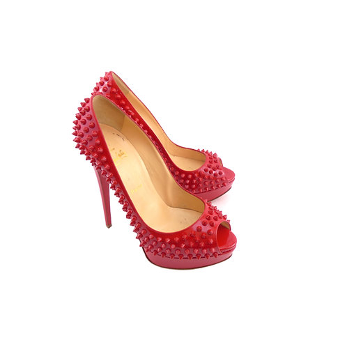 Christian Louboutin 'Lady Peep Spikes' 150 Red Patent Leather