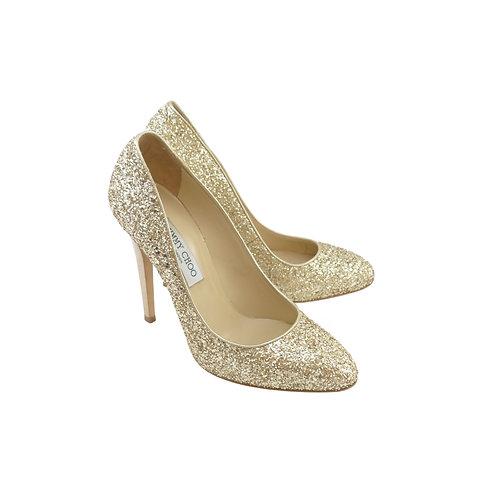 Jimmy Choo 'Victoria' Gold Coarse Glitter