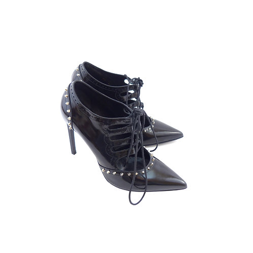 Saint Laurent 'Paris 105' Lace-Up Studded Patent Booties
