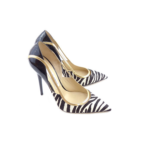 Jimmy Choo 'Viper' Black, White, Gold & Black Zebra Print Calf Hair