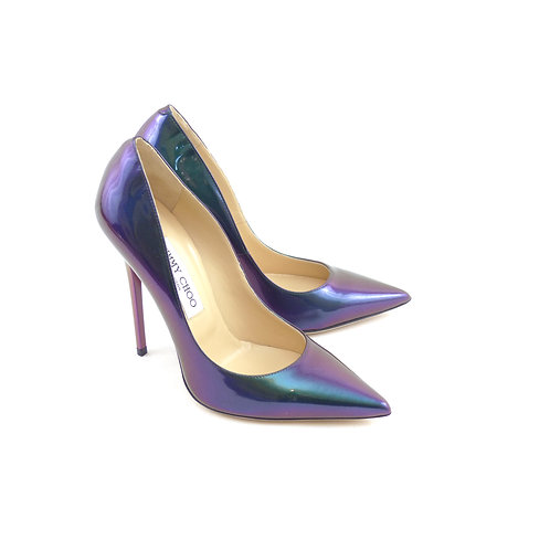 Jimmy Choo 'Anouk' Petrol Holographic Patent Leather