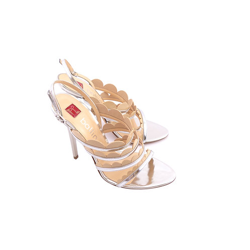 Ballin Silver Mirrored Leather / Nude Laminated Sandals