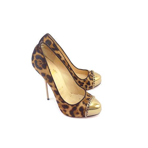 Christian Louboutin 'Metalipp 120' Pony Leopard Luxor Gold Toe-Cap