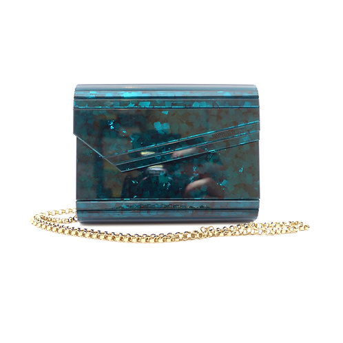Jimmy Choo 'Candy' Teal Paillettes Glitter Acrylic Clutch Bag