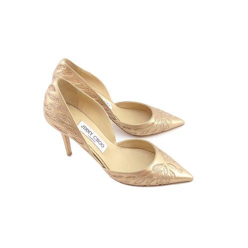Jimmy Choo Daysha 85 Gold Glittered-Pattern Metallic Leather